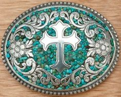 Turquoise Jewelry Outfit Nocona® Turquoise Stones w/ Silver Cross - Oval silver ladies buckle with silver floral beaded trim. Silver center cross design with floral border, crystal accents and turquoise beaded background. Cowgirl Belts, Western Belt Buckles, Cowgirl Bling, Western Belts, Cowgirl Style, Western Wear, Cowgirl Chic, Western Jewelry, Western Outfits