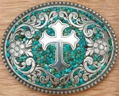Nocona® Turquoise Stones w/ Silver Cross & Flowers Western Belt Buckle | Cavender's