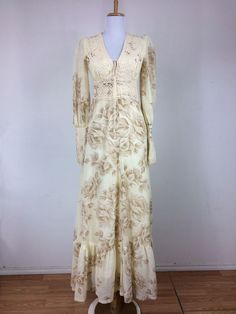 Vintage 1970s Gunne Sax Prairie Dress Floral Lace Up Crochet Boho Bohemian S  #GunneSax