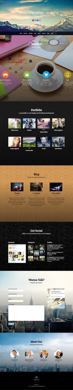 Parallax WordPress Single Page and Scrolling Theme