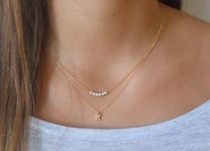 Items similar to Personalized Gold Necklace Set; Set of 2 Necklaces; Everyday Necklace on Etsy Simple Jewelry, Cute Jewelry, Gems Jewelry, Pendant Jewelry, Jewelry Necklaces, Delicate Necklaces, Personalized Gold Necklace, Initial Necklace Silver, Sterling Silver Necklaces