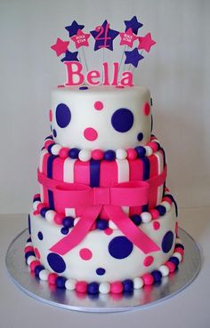 Hot Pink and Purple 21st Birthday Cake
