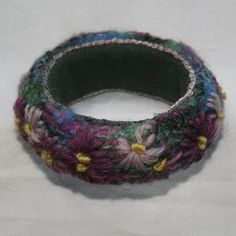 Embroidered Bangle  Purple Daisies by Lynwoodcrafts on Etsy, £18.00