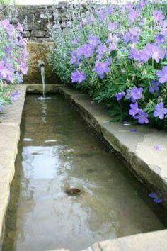 Stone Trough Water With Purple Flowers Pinned By High Billinghurst Farm Venue