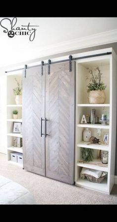 cool bookcase wall with sliding barn doors furniture storage DIY Sliding Barn Door Console Bookcase Wall, Closet Bedroom, Rustic House, Furniture, Living Room Diy, Diy Living Room Decor, House, Barn Door Console, Barn Door Media Console