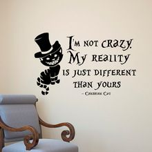 Alice In Wonderland Muursticker Cheshire Kat Quotes Vinyl Decals Kamer Muur Decoratie DIY Home Decor 57*35 60*90(China)