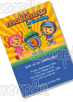 Team Umizoomi Birthday party invitation. Luke's 4th birthday idea?