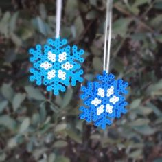 The kids will enjoy making these snowflake ornaments with Perler beads.