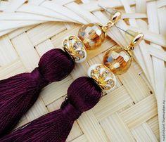 """Купить Серьги гвоздики """"Luxury Adel"""" с кисточками - баклажановый цвет, темное бордо, серьги"""