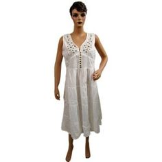 Womens Tank Dress White Embroidered Front Open Button Long Sundress Clothing (Apparel)  http://www.picter.org/?p=B007NF4G3C