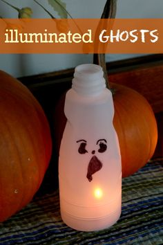 Light up ghost craft for kids to make for Halloween