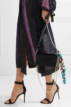 Diane von Furstenberg   Soiree embellished velvet and leather shoulder bag   NET-A-PORTER.COM