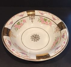 Vintage C P Co Floral Ceramic Bowl with Gold Accents   eBay