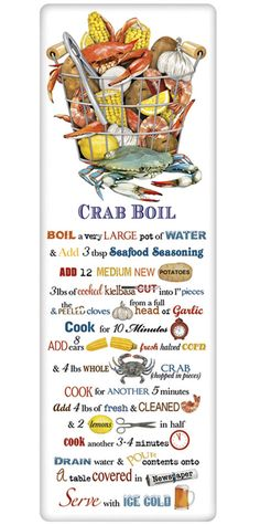 We treasure the recipe dish towel! Discover flour sack towels for every cook's decor and holidays. This one features an amazing recipe for the perfect crab boil.