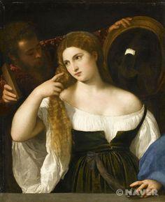당시 미인은 반드시 금발이어야 했는데 베네치아 여인들은 이 방면에서 고도의 기교를 발휘했다. 금발로 물들이는 혼합제 '비온다'를 바른 뒤, 넓은 챙만 있는 모자를 쓰고 햇볕에 머리카락을 말리면 베네치아 금발이라 불리던 엷은 황갈색 금발을 얻을 수 있었다.  티치아노, 화장하는 여인의 초상, 루브르 박물관