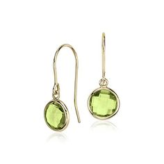 Peridot Solitaire Earrings in 14k Yellow Gold (7mm)