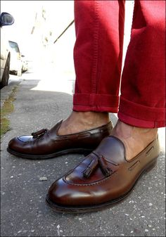 Alden Tassel Loafers - leather without the hosiery. #style... If your under 40, this pic should burn your eyeballs and you need a stern word with yourself.