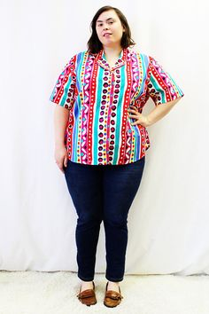 Plus Size - Vintage Abstract Print Notched Collar Blouse by TheCurvyElle, $18.00