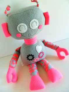Robot - Ragdoll for Kids - Toys - Baby & Toddler - Stuffed Toy - Girl - Plush - Day Glo Pink - Dove Grey - Neon - Ready Made