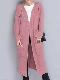 1fbe7828238 Slit Pocket Abstract Print Plain Long Sleeve Coats. Abstract PrintCheap  FashionCoatsWrapsCoatWinter Coats