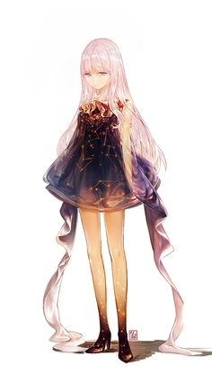 Anime picture with original illak long hair single tall image looking at viewer simple background white fringe bare shoulders pink hair standing pink eyes constellation girl dress black dress long sleeves Anime Chibi, Anime Pokemon, Chica Anime Manga, Manga Girl, Anime Art Girl, Anime Girls, Anime Body, Anime Plus, Image Manga
