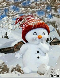 christmas fondos A winter cutie . Good morning I send winter hugs and snowflake kisses! May God bless everyone richly thru out the Christmas season and the New year to come! Merry Christmas Gif, Christmas Scenes, Vintage Christmas Cards, Christmas Snowman, Winter Christmas, Christmas Time, Christmas Crafts, Christmas Decorations, Christmas Ornaments