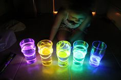 Fill water up at various levels and place glow bracelet inside.  Glow stick xylophone. Put the glow sticks in cups of water and an aura comes off in the dark, when you tap them. Probably the coolest thing ever.