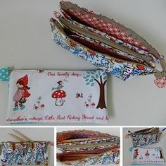 More than the average pencil case, this one has zip up compartments.  Made here with Little Red Riding Hood by Riley Blake, free tutorial!