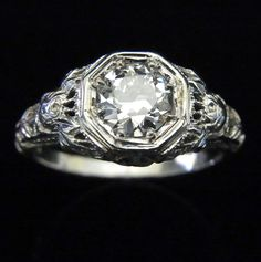 Antique Edwardian Old European Cut VS1 color F Diamond 18k White Gold Engagement Ring with EGL USA Grading Certificate