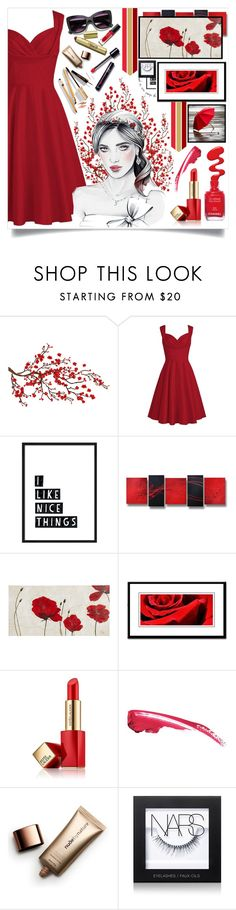 """Royal Ruby"" by angelstylee ❤ liked on Polyvore featuring Brewster Home Fashions, Pier 1 Imports, Dolce&Gabbana, Estée Lauder, Nude by Nature and NARS Cosmetics"