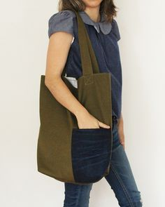 House of Red - Olive Denim Tote Bag