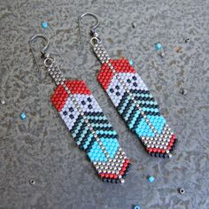 Red Cloud Hand Beaded Feather Dangle Earrings by SantaRioTradingCo