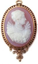 This is the rose color I'm looking for. Rare 18k Victorian Rose Hardstone Cameo of Mary Queen of Scots