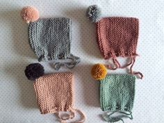 Image of baby cap >grey>mauve>pale pink>mint Baby Knitting Patterns, Knitting For Kids, Knitting Projects, Crochet Patterns, Hat Patterns, Diy Tricot Crochet, Crochet Hats, Knitted Bags, Knitted Baby Clothes