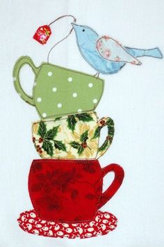 Christmas Teacups in a Stack With A Little by GraceLaneCottage