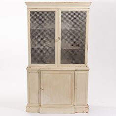 Beige with Tin Mesh China Cabinet