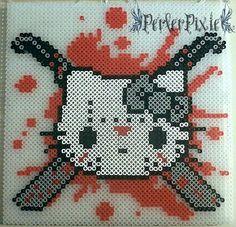 Jason Mask Hello Kitty perler beads by PerlerPixie on deviantART - Pattern: http://www.pinterest.com/pin/374291419003405979/
