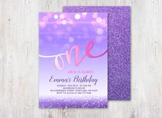 Purple and Pink First Birthday Invitation Girl by YourLittlePoster