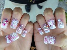 My 3d nails by michelle at blue diamond nails ontario ca nails nail art with pink fade and silver glitter done at wild orchid nail salon here in las vegas prinsesfo Images