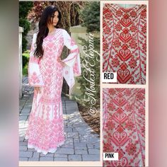 ✨✨✨ Ready to ship✈️. Available colors ,  white & red , white & pink.  One size  Length 61 inches Bust 36 inches Waist 37 inches Hips 41 inches Available in black& Red ,  white red , white& pink. Order your color today . Tag your friends #Thoub #PalestinianThoub #wedding #henna #engagement #kutba #baya #style #embroidery #culture #modest #dress #abaya #palestinian #thobe #abaya #modest #fashion #hijabfashion #hijab #palestine #style #arab #arabian #custom To order send us DM or ☎️CALL or…