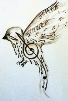Music note bird. uhm.. this is beautiful.