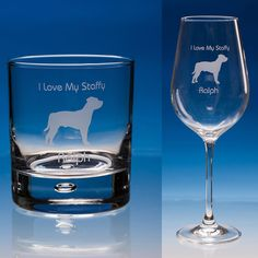 Staffordshire Bull Terrier Dog Personalised Engraved Fine Quality Wine or Whisky Glass - Add your Message - Birthday Gift, Christmas Gift,