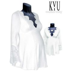 This is the last piece in size 38/40 we have. http://de.dawanda.com/product/18418981-WEIssE-TUNIKA-MIT-SPITZE---UMSTANDSMODE  WHITE TUNIKA Wonderfully romantic, white tunic with hand-made lace on a decollte and the sleeves .Tunics bell shape and elastic material make it very comfortable. It can be worn until the end of pregnancy, and if you wish even afterwards. Material: cotton-Lycra, Stretch