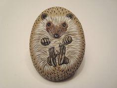 Hedgehog hand painted on a stone  pet rock by wildstonepainter, $16.00