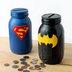 tirelire originale et activité manuelle pour enfant avec thème super héro