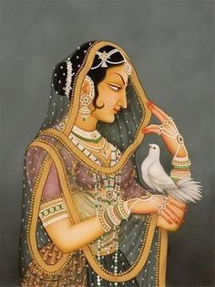 """""""The bird you set free will always return home to roost in your heart In other words 'give wings and get wings"""" - Mughal art Mughal Paintings, Indian Art Paintings, Indiana, Mughal Empire, Indian Folk Art, Writers And Poets, Hindu Art, Islamic Art, Traditional Art"""