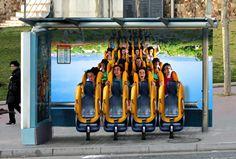 Port Aventura Park ad: Bus stop roller coaster seats