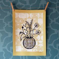 FLOWER STILL LIFE - 2 color linocut print on yellow paper