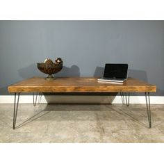 "2.5"" Thick wood coffee table - made from reclaimed wood w/industrial hairpin legs and endurovar finish"