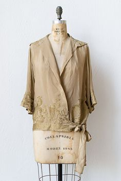 vintage 1920s silk gold embroidered blouse | Golden Pheasants Top